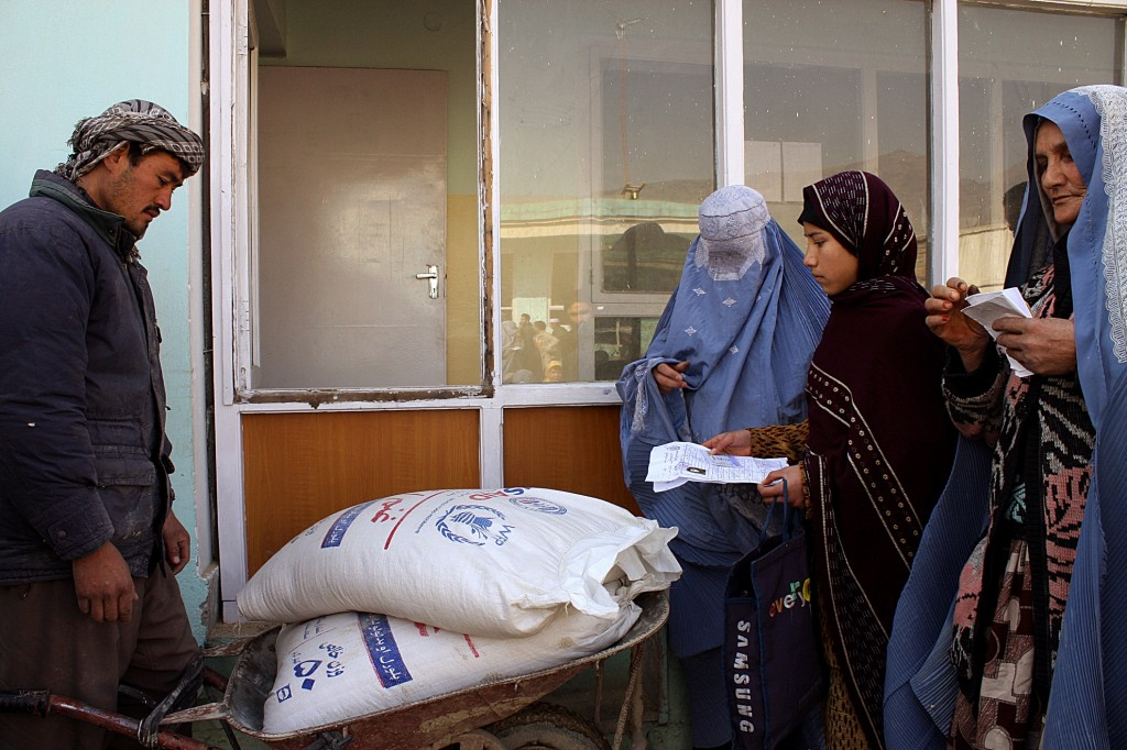 Women receiving food in Kabul.