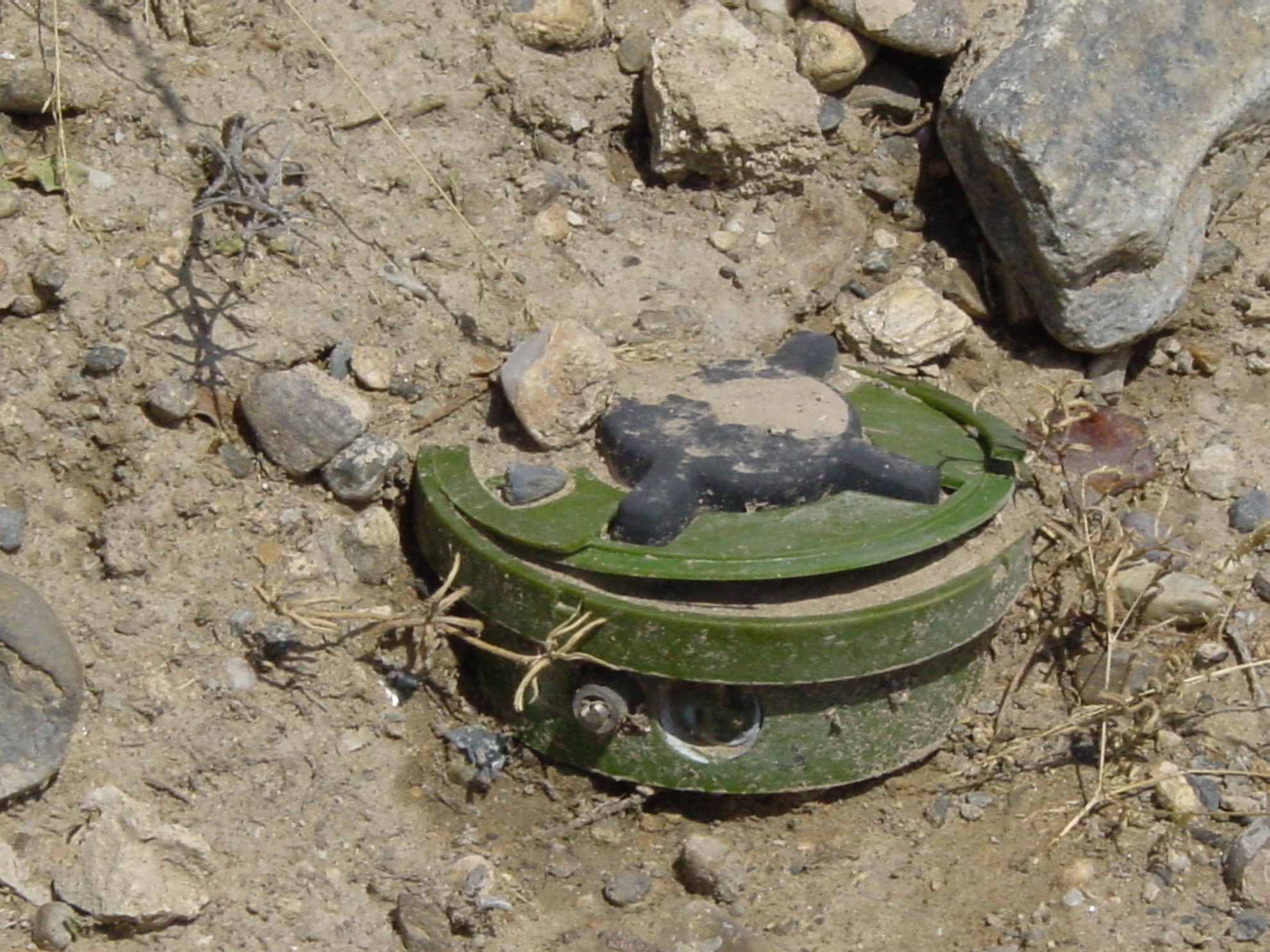 Sadly, not many mines are as easy to spot as this one. Photo: Jens Kjær Jensen, 2003