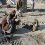One of the camp dwellers trying to make money with his trained monkey. The need to earn money and survive makes the people in the camp very creative. Photo: Jens Kjær Jensen, 2003