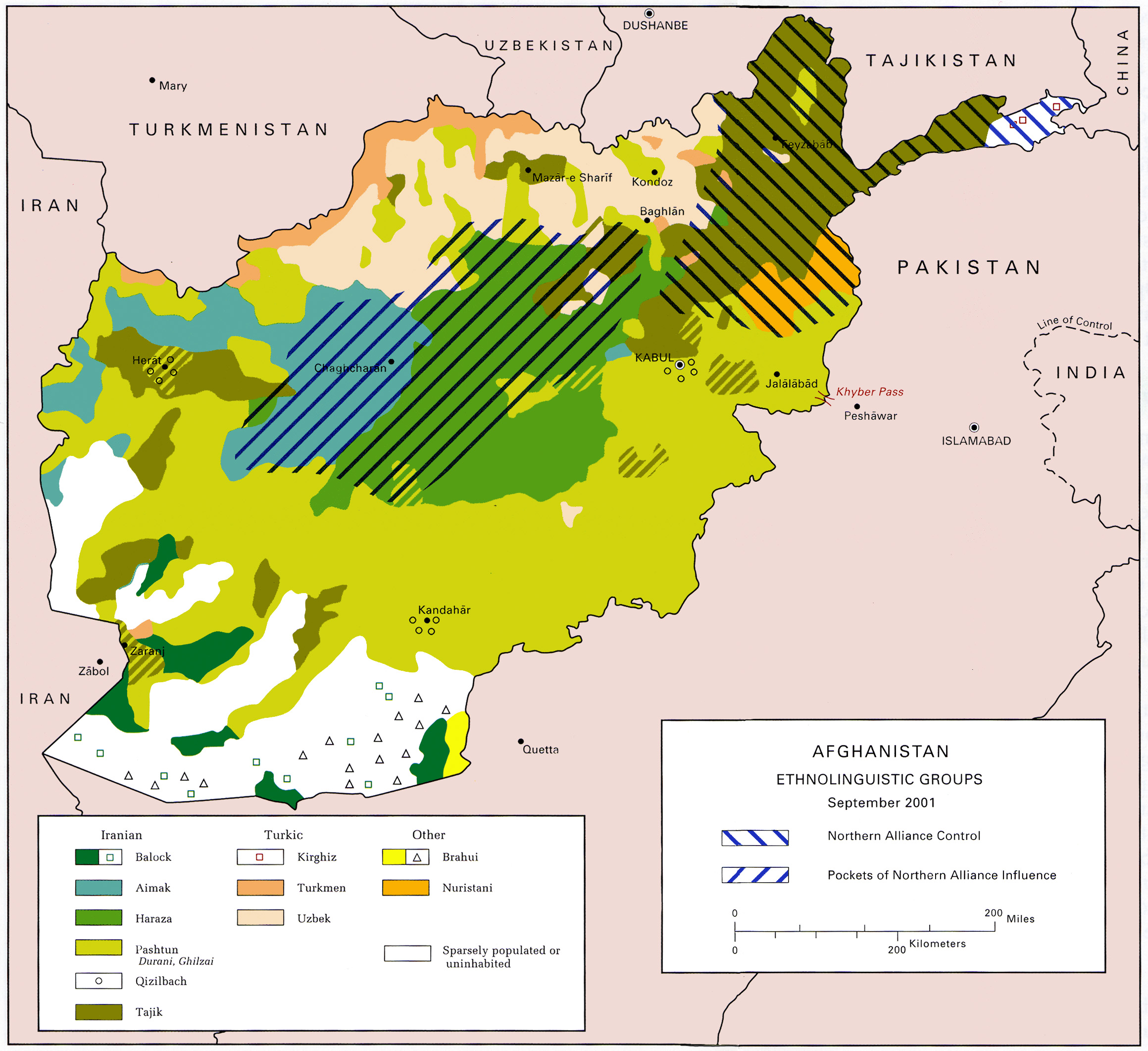 Map over ethnic groups in Afghanistan in 2001. Source: US Army