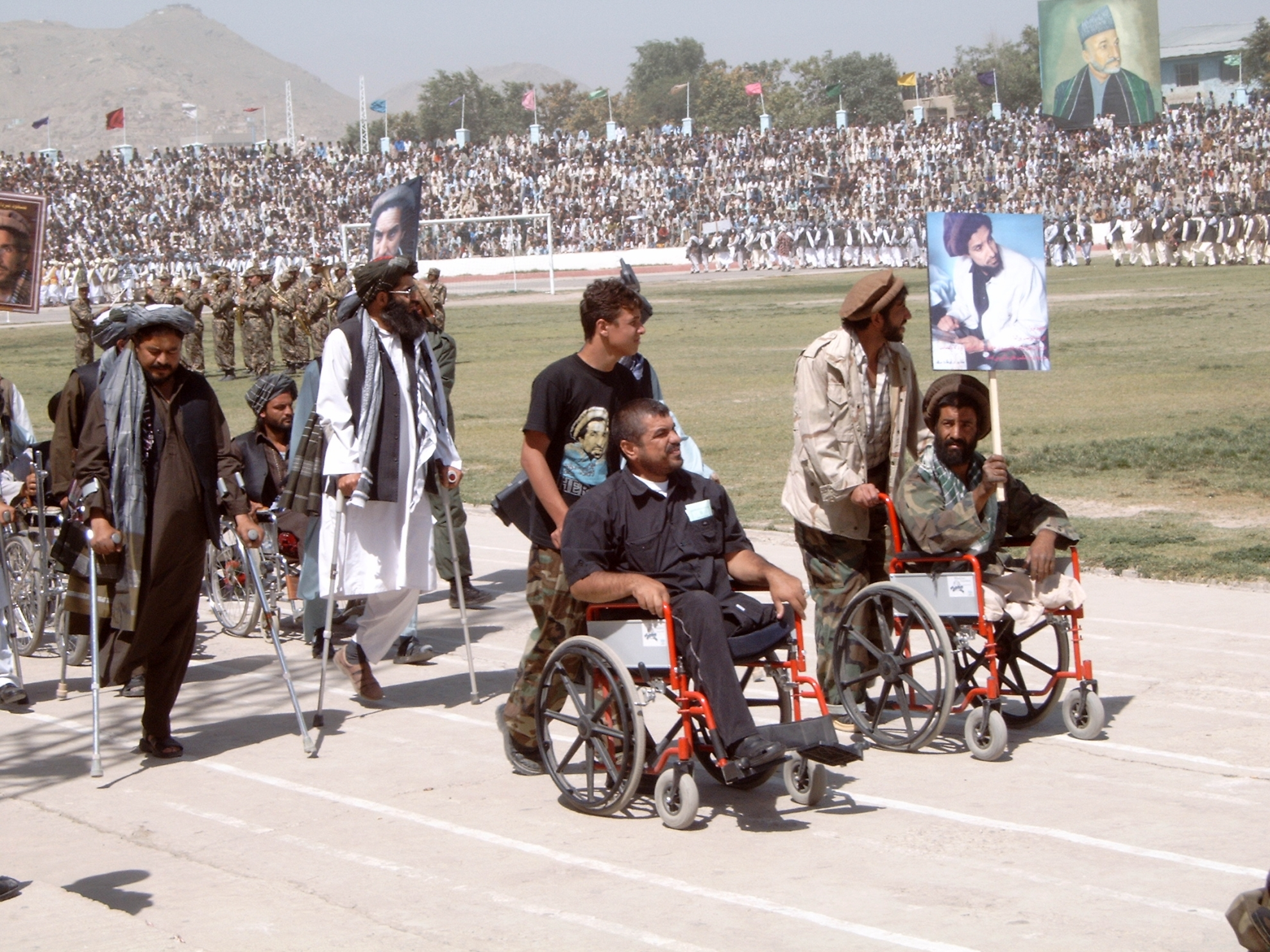 Disabled veterans from the Northern Alliance, that fought against the Taliban, at a parade on Ghazi Stadion. This was where the Taliban used to conduct their public executions. Photo: Jens Kjær Jensen, 2003