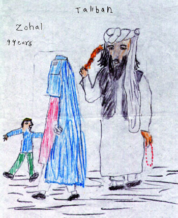 """Tegning fra en RAWA skole. RAWAs skoler og børnehjem er primært til for at bekæmpe den store analfabetisme, især blandt piger, men har også et tydeligt politisk sigte, og forsøger blandt andet at lære børnene, at """"freden vil først komme, når alle spor efter Mujahedin og Taliban er slettede"""""""