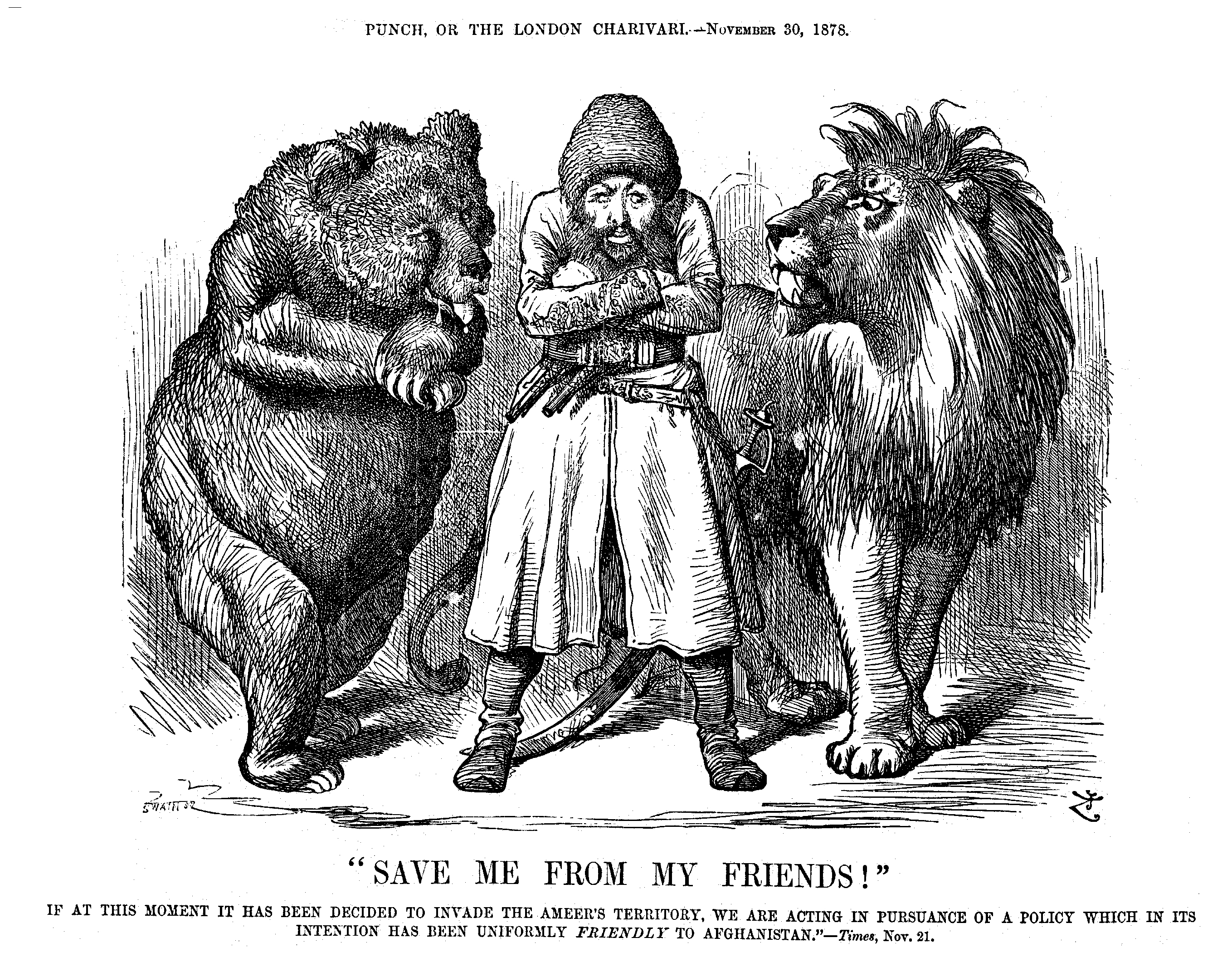 "Satirical cartoon from a British newspaper 1878. The Afghan Amir is caught between the Russian bear and the British lion. The text ""save me from my friends"" hints at the British explanation for the invasion of Afghanistan, namely that it was an act of friendship towards the Amir.From the Moesgaard Museum archives"