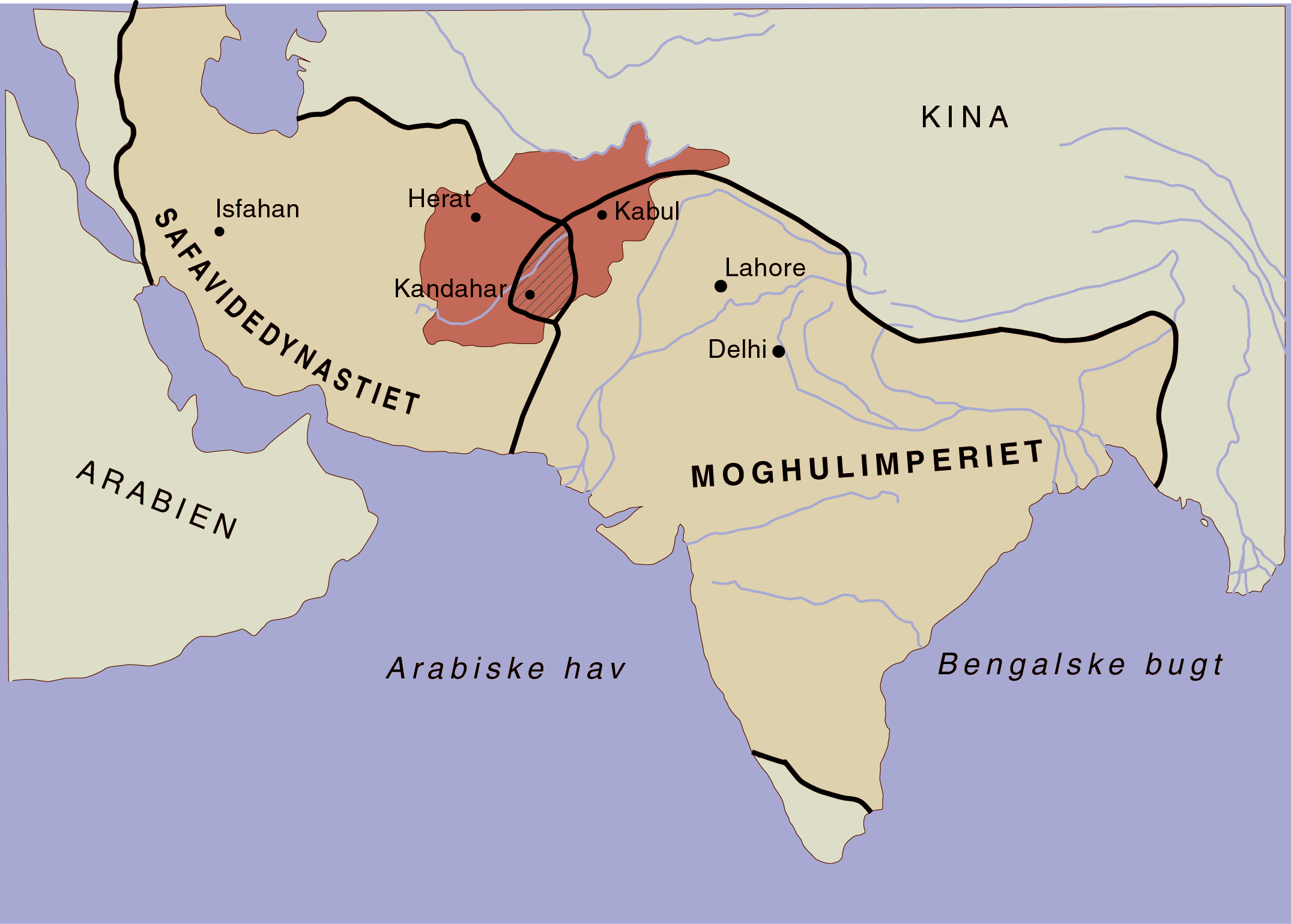 The extent of the Safavid and the Mughal Empires in the early 18th century. The extent of modern Af­ghanistan is marked in red. Made by Moesgaard Museum