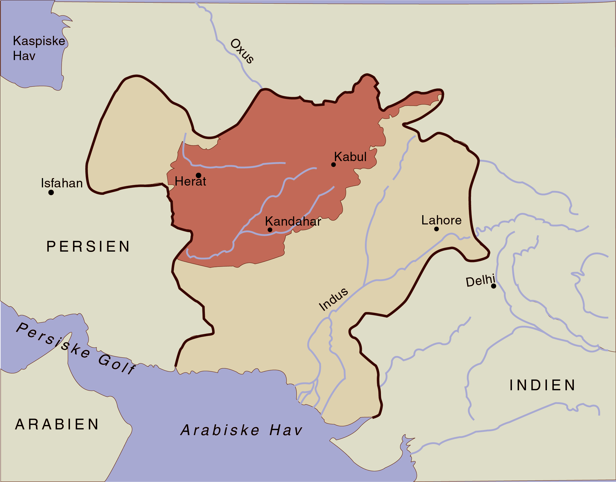The extent of Ahmad Shah's kingdom in the mid-eighteenth century. The extent of modern Afghanistan is marked in red. Made by Moesgaard Museum