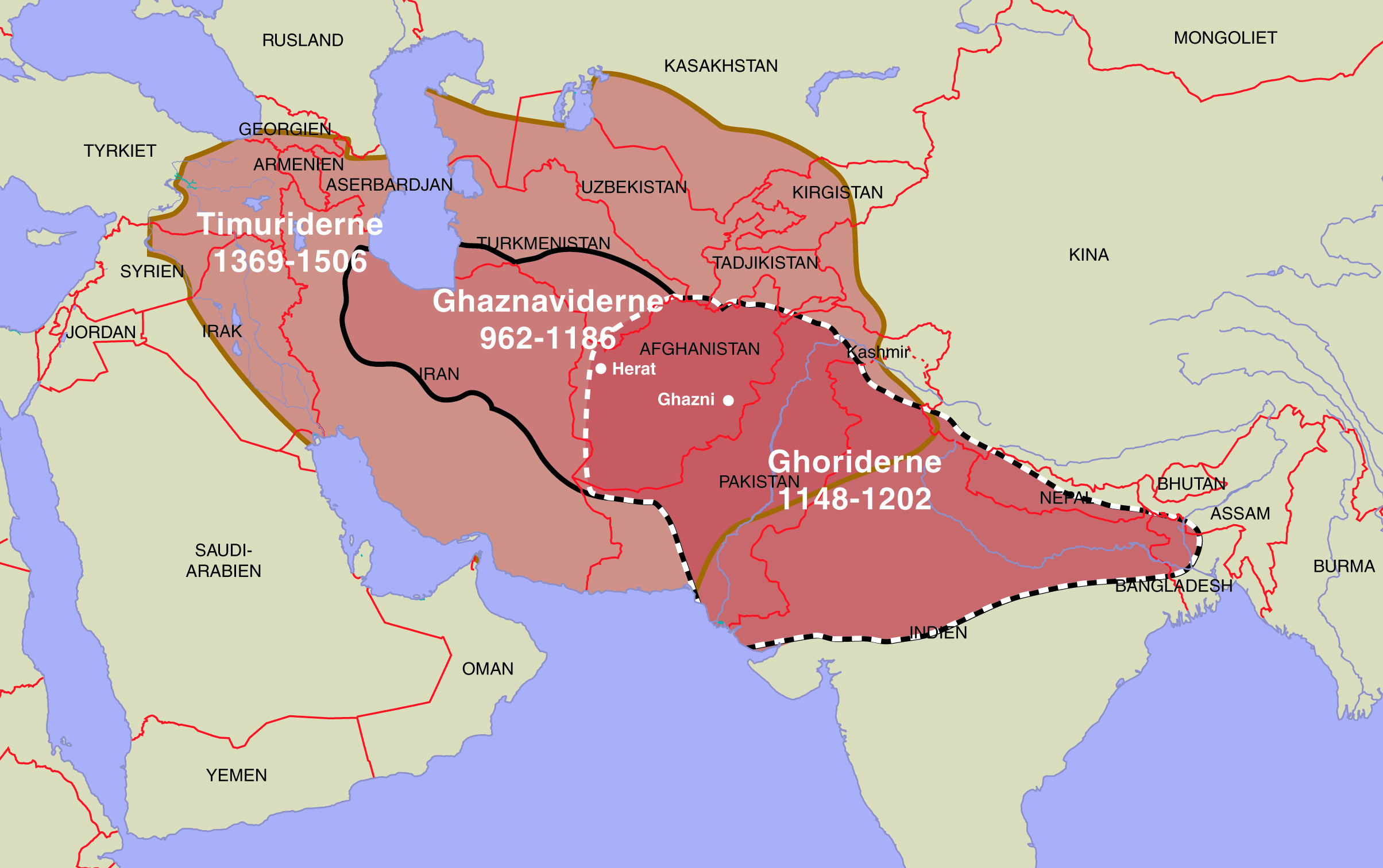 The realms of the Ghaznavids, the Ghorids and the Timurids shown on a modern map by Moesgaard Museum