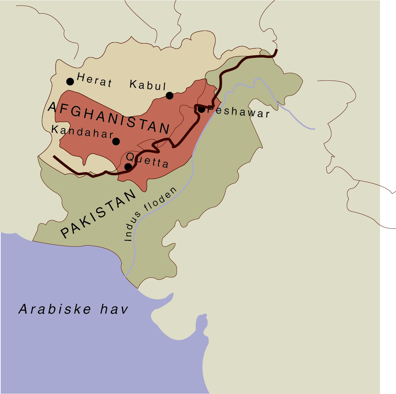The border between Pakistan and Afghanistan cuts right across the Pashtun tribal area (shown in red). The antago­nism between Pakistan and Afghanistan has repeatedly led Pakistan to close their shared border. Map by Moesgaard Museum