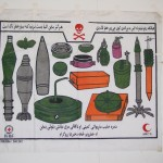 Frequent information campaigns warn against mines and live bombs. Here a poster at the entrance to a Kabul hospital. Photo: Jens Kjær Jensen, 2003