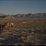 Nomads heading to the mountains to find pastures for their animals. They walk all night and morning to avoid the heat of day. Photo: Jean Bourgeois, 1968