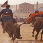 It takes both strength and balance to play buzkashi. The point of the game is to score goals by throwing the goat into the goal circle of the opposite team. Photo: Jean Bourgeois, 1969
