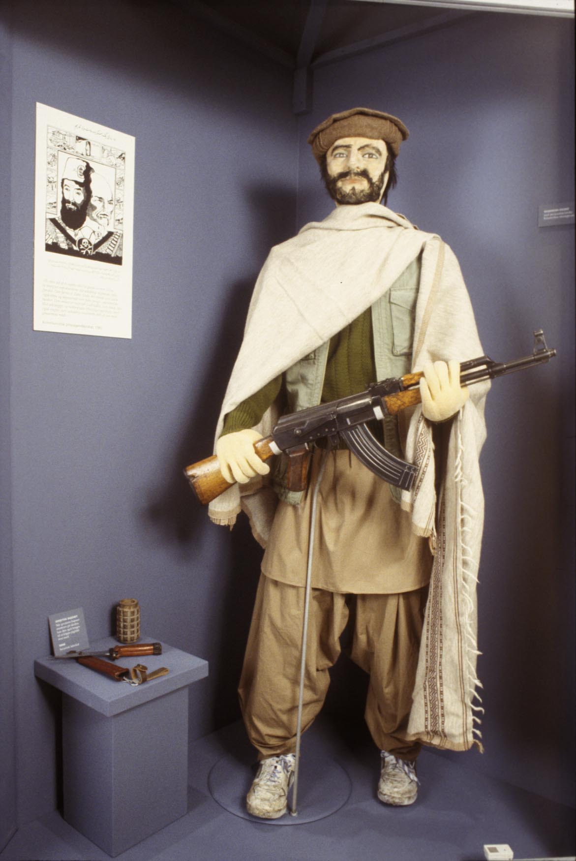 The dummy depicts a mujahid waging jihad (holy war) on the Soviet occupation. Photo: Moesgaard Museum